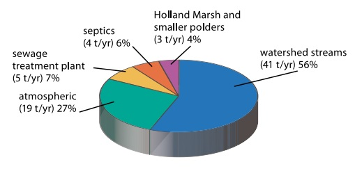 This pie chart shows the estimated sources of phosphorus loading to Lake Simcoe for the years 2002 to 2007. The sources are: sewage treatment plants at 5 tonnes per year or 7 per cent, septics at 4 tonnes per year or 6 per cent, the Holland Marsh and smaller polders at 3 tonnes per year or 4 per cent, watershed streams at 41 tonnes per year or 56 per cent, and atmospheric deposition at 19 tonnes per year or 27 per cent.