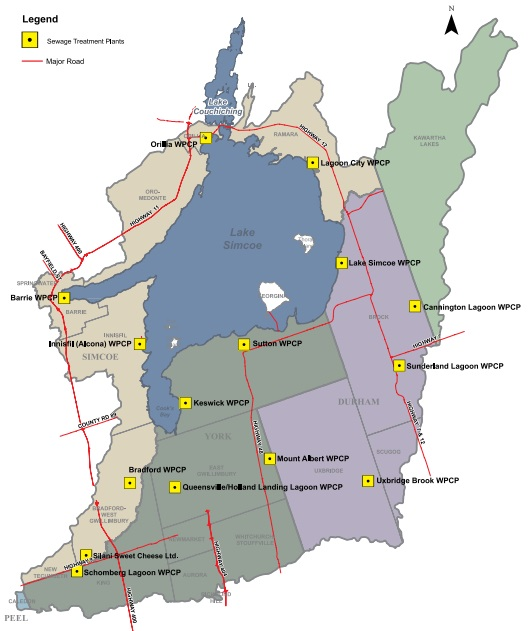 This map shows the locations of all sewage treatment plants within the Lake Simcoe watershed. There are 11: Innisfil (Alcona), Barrie, Orillia, Lagoon City, Lake Simcoe (located on the north-eastern side of the lake), Cannington, Sunderland Lagoon, Sutton, Mount Albert, Uxbridge Brook, Keswick, Queensville / Holland Landing, Bradford, Schomberg Lagoon, and Silani Cheese.