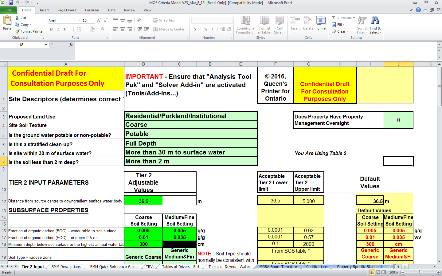 Model screenshot of the Tier 2 Input page showing tabs that are blue highlight