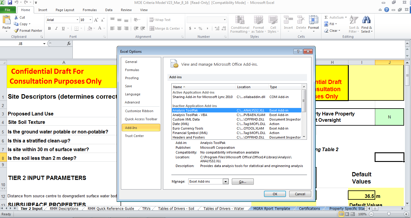 Model screenshot showing the Excel Options feature where one can turn on the Analysis Tool Pak
