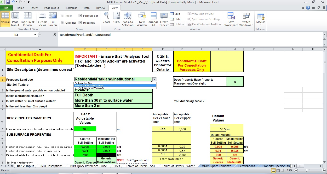 Model screenshot of the Tier 2 Input page showing the input cells in green highlight