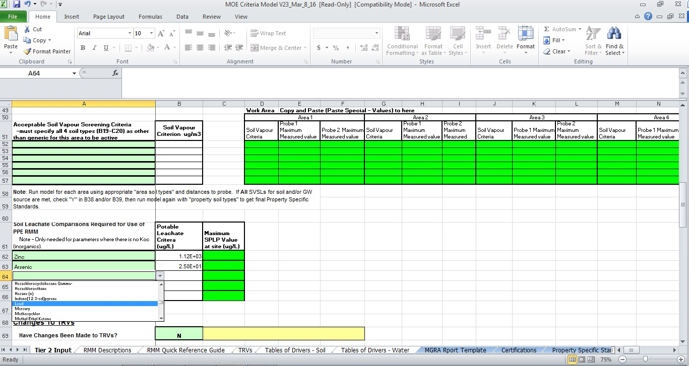 Model screenshot of the Tier 2 Input page showing the area where contaminants are selected from a drop down menu.
