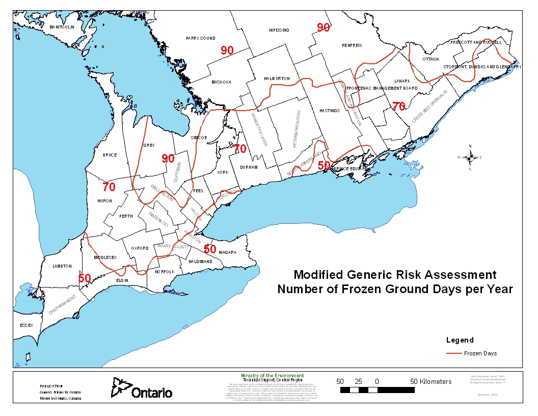 """Map Showing """"Number of Frozen Ground Days Per Year"""" for Southern Ontario."""