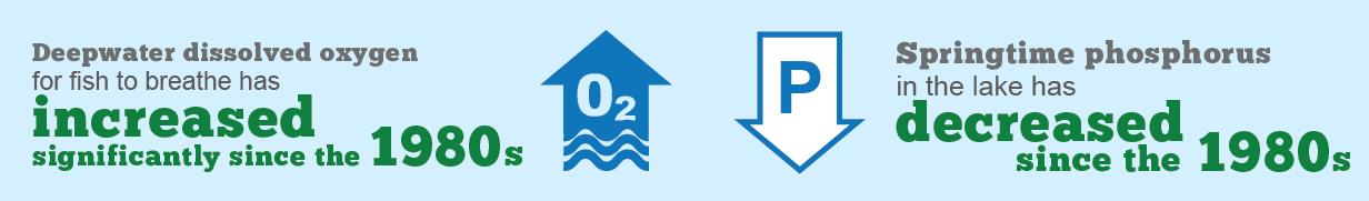 """This infographic shows an arrow with """"oxygen"""" written inside it indicating deepwater dissolved oxygen for fish to breathe has increased significantly since the 1980s. Beside it there is an arrow with the letter P in it pointing downwards to indicate the springtime phosphorus in the lake has decreased over the same time frame."""