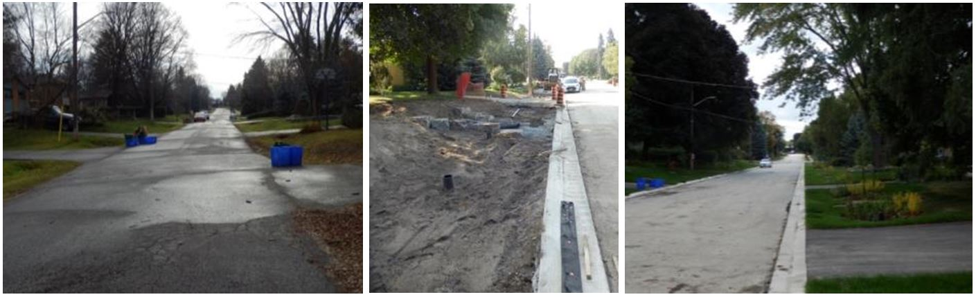 This is three photos showing before, during and after construction of a residential Low Impact Development demonstration site in Newmarket. In the first image, there are traditional curbs and gutters to manage stormwater resulting in street run off going directly to the nearby creek. In the second image, taken during construction, a bioswale is being constructed. The third image shows the finished project where the run off is directed to residential rain gardens.