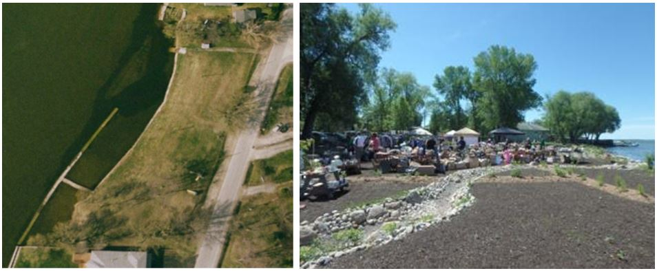"""This is two images showing the """"before"""" and """"after"""" of one of the restored public shorelines at Pine Beach Park. The first image, the """"before"""" image, shows an aerial view of the site with a hardened shoreline and not a lot of natural vegetation. In the second image, taken after the work has been completed, there is a bioswale and increased vegetated plantings."""