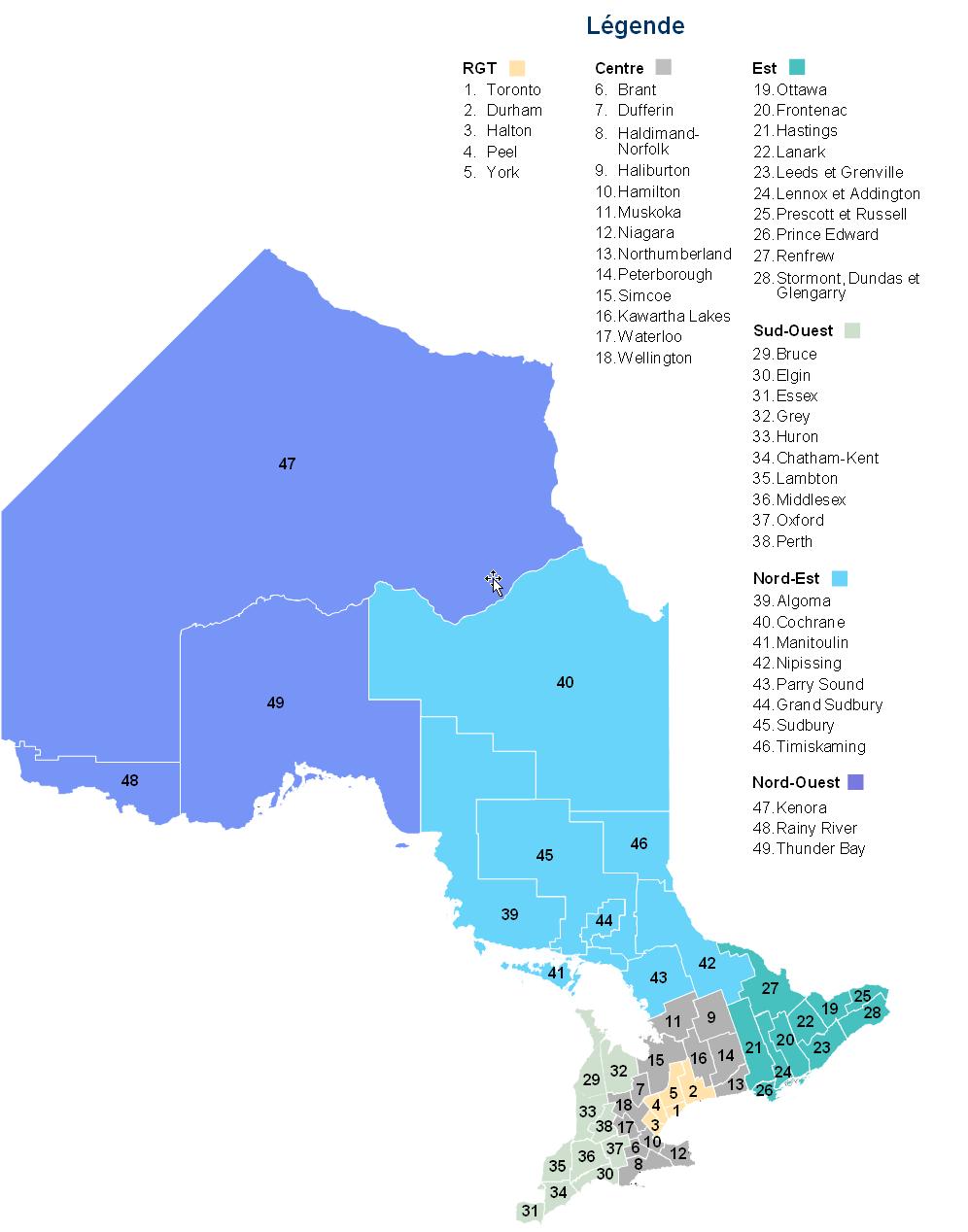 Carte des divisions de recensement de l'Ontario