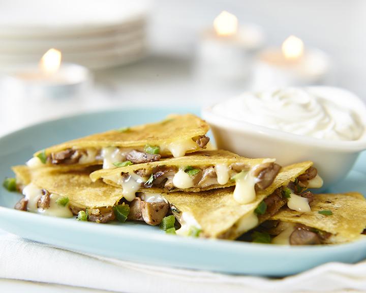 Mushroom and Cheddar Quesadillas