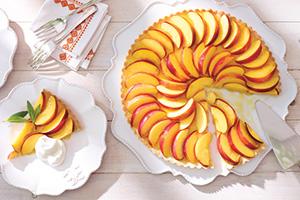 Nectarine Almond Shortbread Tart