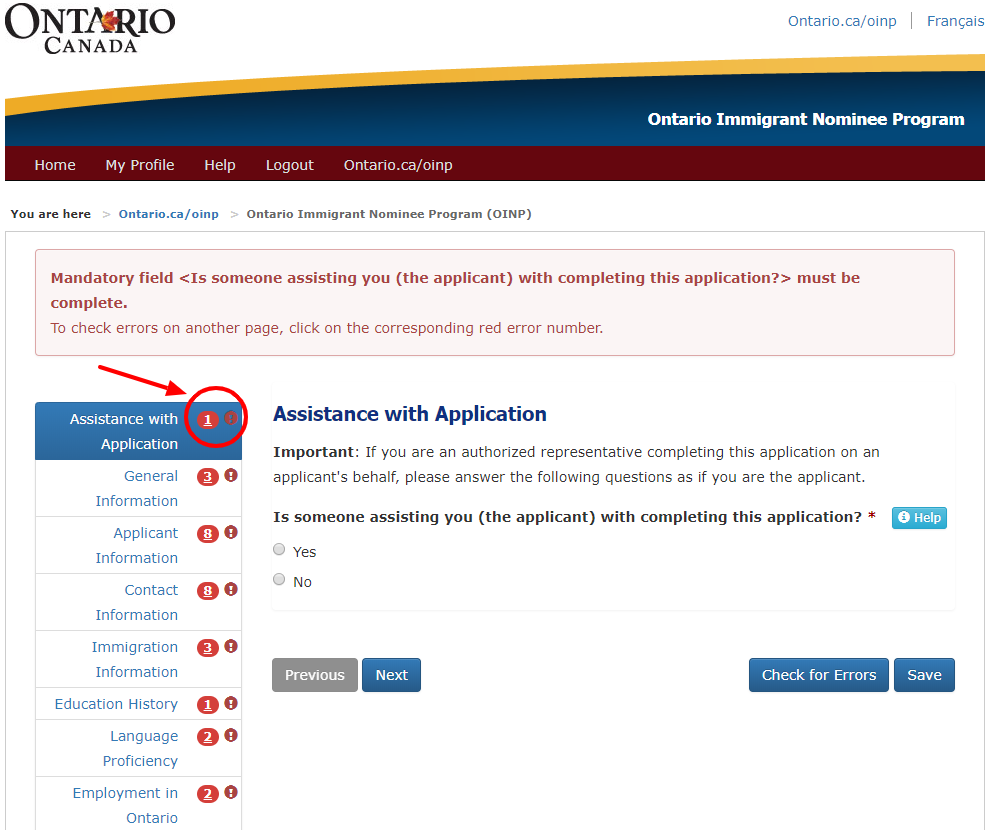OINP portal guidelines