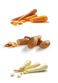 This is a photo of carrots, sweet potatoes, and parsnips