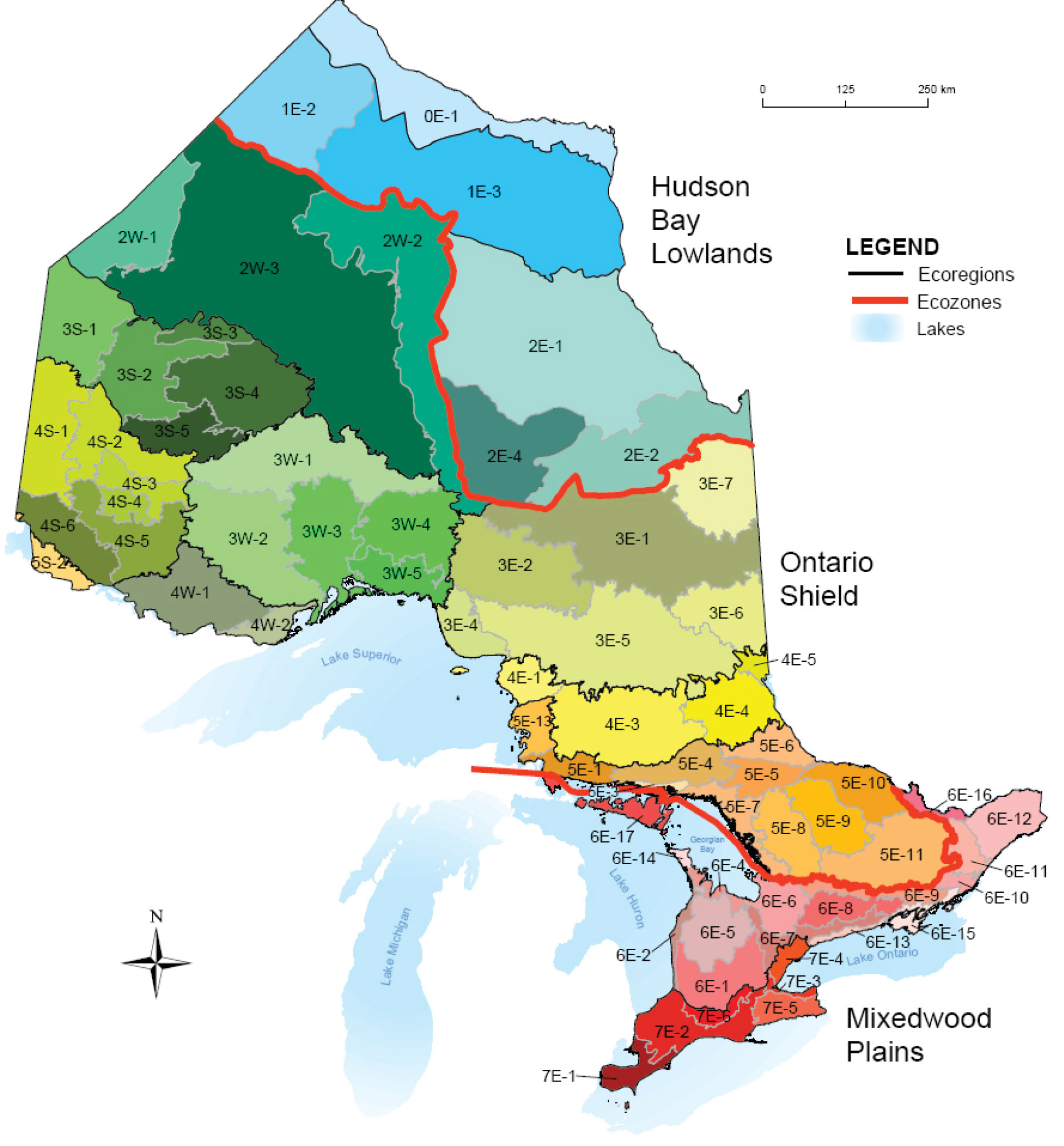 Ontario's land is classified into ecozones, ecoregions, and ecodistricts, which are each based on different features.