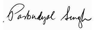 Signture of Parbudyal Singh