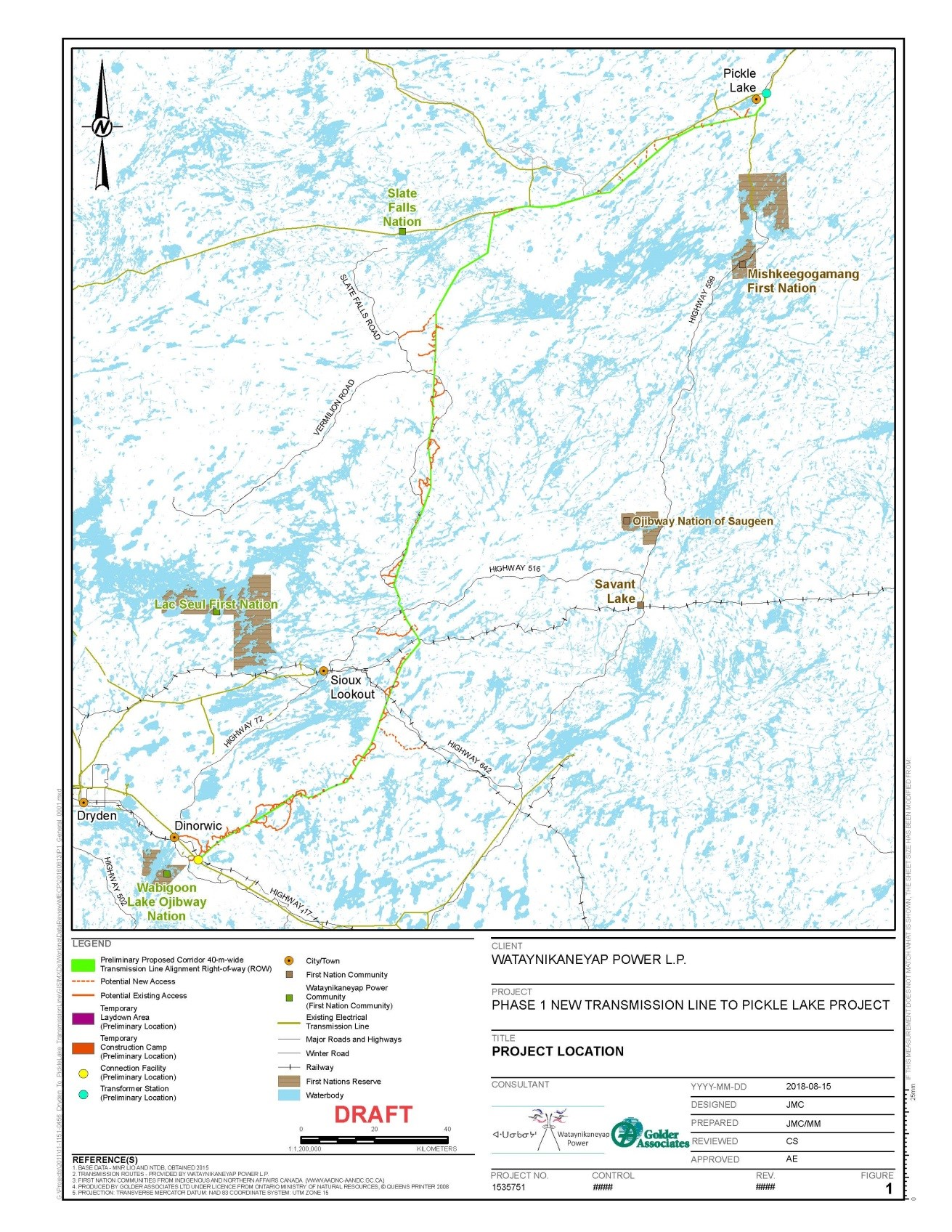 Ministry Review Of The New Transmission Line To Pickle Lake Project Example An Electrical Routing Plan View A Larger Version This Map Jpeg