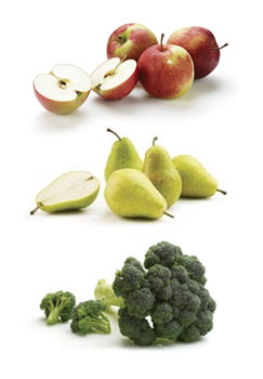 apples, pears, broccoli