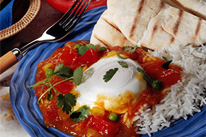 Poached Eggs in Curried Tomato Sauce