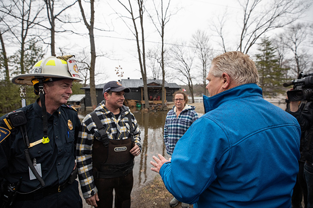 Premier ford discussing flooding during visit to flood impacted area in Spring 2019