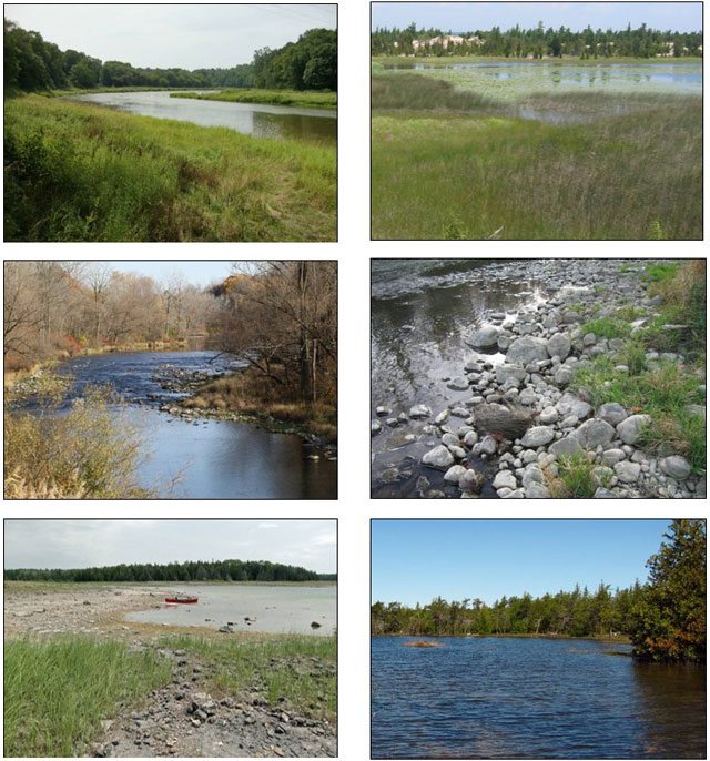 These are six photographs showing examples of the Queensnake habitat in Ontario