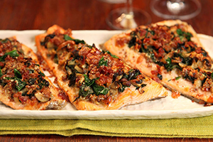 Rainbow Trout With Prosciutto, Spinach and Mushrooms