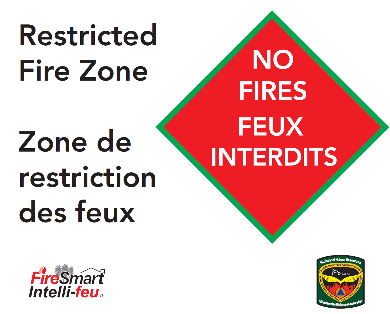 Green and orange Restricted Fire Zone sign