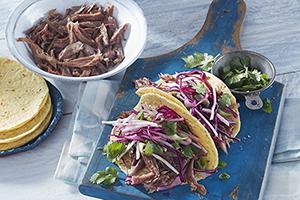 Tacos au canard rôti au tournebroche