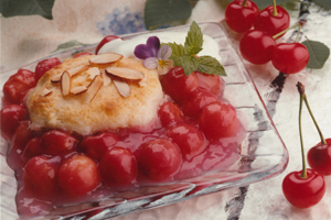 Gâteau en sauce aux cerises