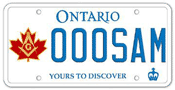 Illustration of Licence Plate - Grand Lodge A.F. & A.M. of Canada