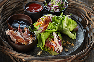 Smoked Rabbit Lettuce Wraps