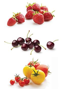 Strawberries, cherries, GH tomatoes