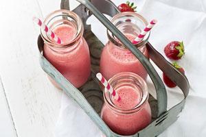Lait fouetté aux fraises