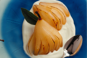Sugar-Grilled Pears with Maple Cream