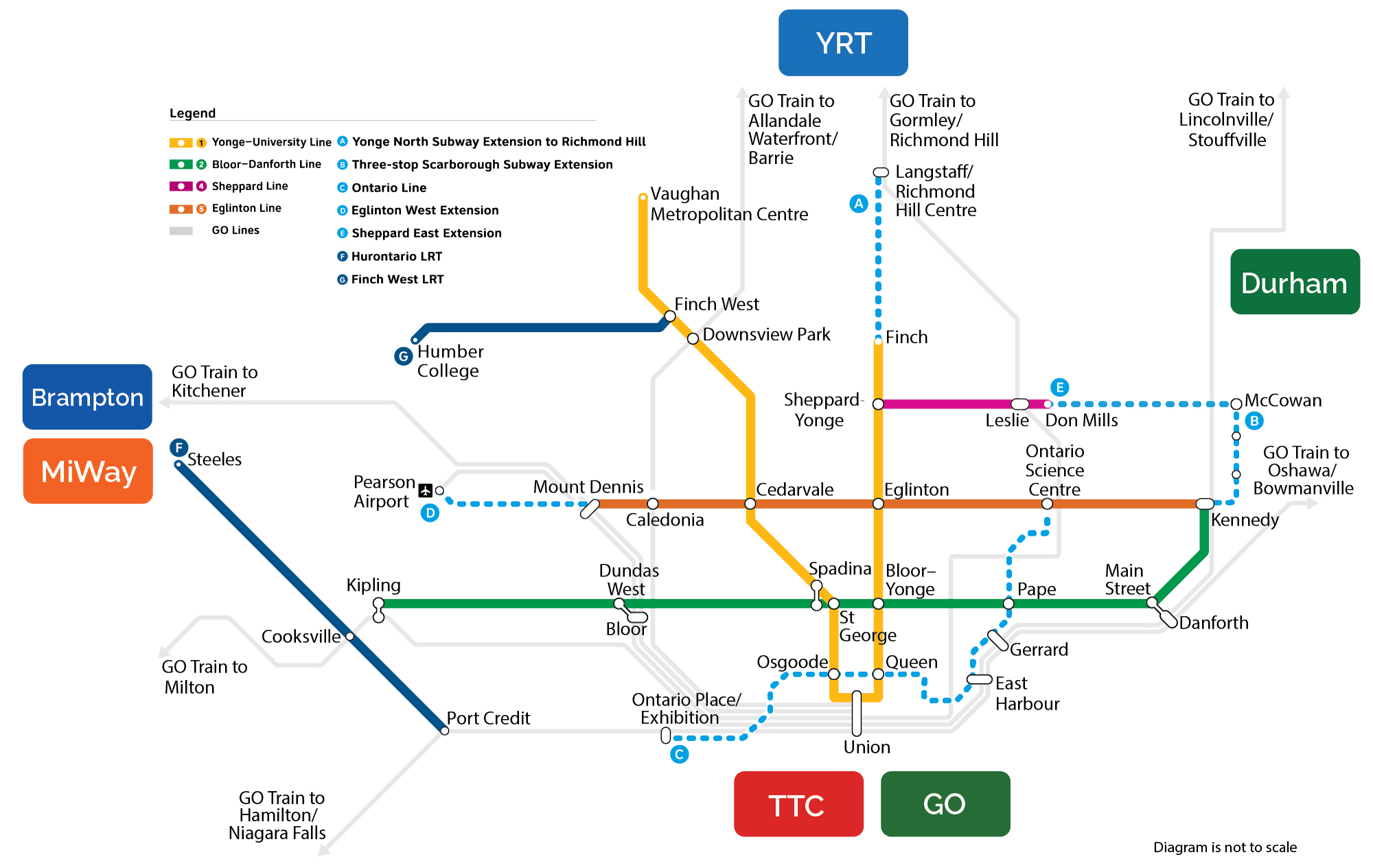 Subway Map Toronto Canada.Transit Expansion In The Greater Toronto Area Ontario Ca