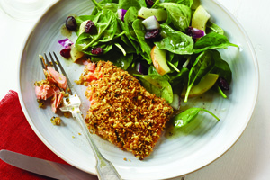 Walnut Crusted Trout with Spinach Pear Salad