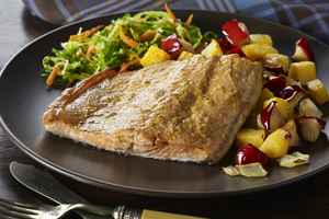 Trout with Roasted Rutabaga, Apples and Onion