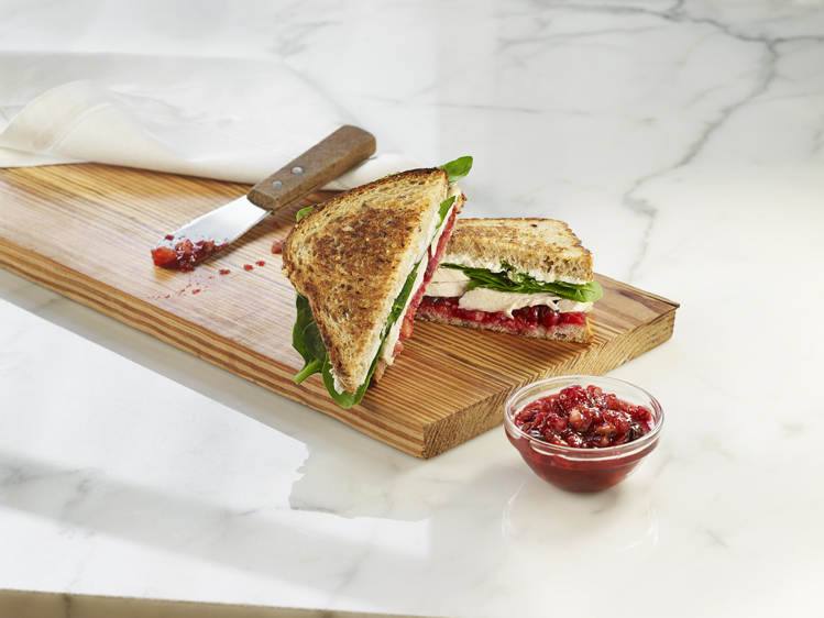 Turkey Goat Cheese Panini with Cranberry Relish