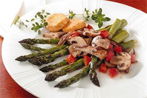 Warm Asparagus and Mushroom Salad with Baked Goat Cheese