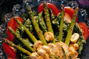 Warm Asparagus, Spinach and Chicken Salad