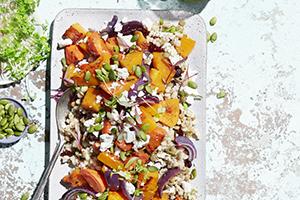 Warm Barley Lentil Salad with Roasted Vegetables