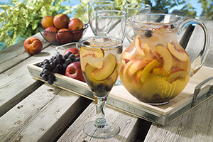White Sangria with Nectarines and Coronation Grapes